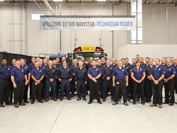 Technicians from Arizona and West Virginia won top honors in the 11th Annual Navistar Technician Rodeo. Shown here are rodeo competitors and Navistar employees who helped organize the rodeo.