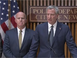 NYC Mayor Bill de Blasio and Police Commissioner James O'Neill discuss the Tuesday truck attack that killed eight people and injured at least a dozen others. Screenshot from NYC press conference video