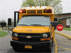 The focus of this year's National School Bus Safety Week is on the importance of stopping for school buses with their red lights flashing and stop arms extended. Photo courtesy N.Y. School Bus Contractors Assn.