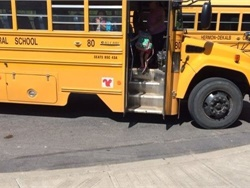 State Sen. Patty Ritchie persuaded DOT officials to repeal an order that would have required removing decals of animals from school buses. Shown here is a decal on a Hermon-DeKalb Central School District bus.