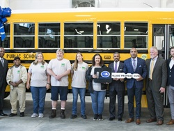 Newport News (Va.) Public Schools and Blue Bird celebrated the delivery of the school bus manufacturer's 15,00th propane-powered bus during an event on Tuesday. Photo courtesy Blue Bird