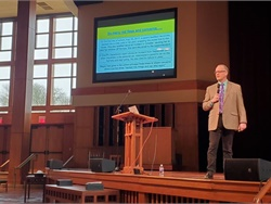 Fitness for duty and emergency response were the focus of the OPTA Winter Workshop in Eugene, Ore. Max Christensen, an executive officer for school transportation at the Iowa Department of Education, detailed for attendees lessons learned from a fatal school bus fire in his state. Photo courtesy Chris Ellison
