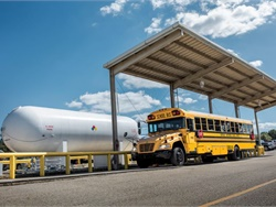 Propane school buses offer low total cost of ownership and refueling infrastructure can accommodate any fleet size. Shown here, a propane bus refuels at Northside Independent School District in San Antonio, Texas.