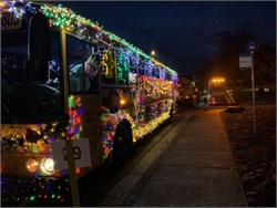 The recruiting team for Salem-Keizer Public Schools in Salem, Oregon, displayed a brilliantly-lit school bus in the Keizer Light Parade on Dec. 8.