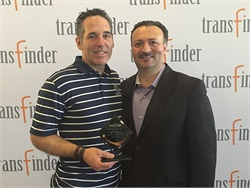 Transfinder Corp. presented its second annual Ambassador of the Year award to Peter Lawrence, the director of transportation at Fairport (N.Y.) Central School District, for the valuable feedback he gave to the software developer.