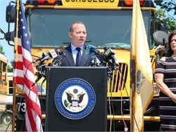 U.S. Rep. Josh Gottheimer (D-N.J.) on Tuesday announced a bipartisan bill that calls for a new federal rulemaking on school bus seat belts.