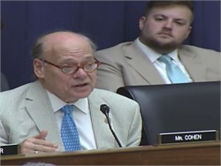 In a committee hearing, Rep. Steve Cohen questioned why federal regulators have not initiated a rulemaking to require lap-shoulder belts on school buses. Screenshot from YouTube video