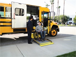 Features of Ricon's newly designed Classic S-Series and K-Series wheelchair lifts include an 800-pound lift capacity, audio and visual threshold warning system, and patented Sto-Loc technology to prevent lift drift. Photo courtesy Ricon Corp.