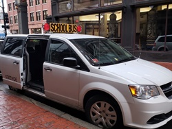 The Rhode Island Department of Education uses eight-passenger minivans to transport its special-needs and out-of-district student populations. Photo courtesy Nicole Martin