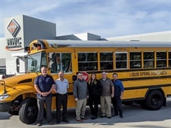 RWC Group, a bus and commercial truck dealership in Phoenix (the sales team is shown here), is now selling IC Bus Type C buses equipped with LiquidSpring. Photo courtesy Tom Hartman
