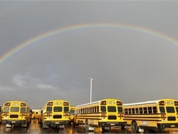 The calm after the storm: Susan Garcia, a driver with Litchfield (Ariz.) Elementary School District #79, captured this rainbow hovering over the district's bus yard after a downpour of rain.