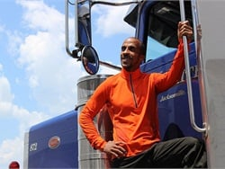 Siphiwe Baleka, a former Ivy League swimming standout, now serves as driver health and fitness coach at trucking company Prime Inc.
