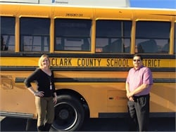 Shannon Evans, executive director of transportation, and Paul Shelley, director of fleet services, oversee the biggest public school bus operation in the nation.
