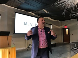 Tony Civitella, CEO of routing software developer Transfinder, started with the company as a college intern in 1989. He is seen here speaking at the company's annual meeting at the start of this year.