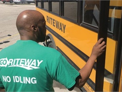 "As part of an initiative to cut down on idling time, GO Riteway had T-shirts made for its drivers with a safety message on the front and ""No Idling"" on the back as a reminder."