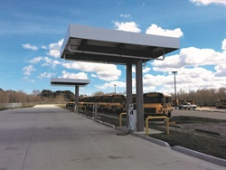Propane fueling supplier Parafour Innovations often consults with school districts to customize their fleet's fueling stations. Shown here is a mid-size station the company completed with a 18,000-gallon tank and two single hose dispensers.