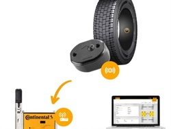 ContiConnect uses the Internet of Things to help enhance tire maintenance. Shown here, wireless sensors mounted inside the tires collect data, which is transmitted to the Continental back end as soon as the sensors come within range of the receiver unit to the Continental back end. Then, a software program analyzes the data and displays it in the ContiConnect web portal.