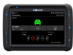 Driver monitoring apps, such as GreenRoad, can be installed on the Zonar 2020 tablet. The tablet sits directly in front of the driver, allowing them to see real-time feedback on their driving behavior.