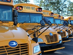 Roush CleanTech is hosting a California Road Show next month to demonstrate its near-zero emissions propane vehicles. File photo of Blue Bird Propane Vision school buses.