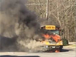 The South Carolina driver stops the bus at a gas station and safely evacuates 40 kindergartners from the bus before it catches fire. Screenshot from a video posted by Larry Johnson on Facebook