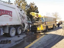 A story about a crash involving a school bus and garbage truck, which sent a total of 21 people to the hospital, was the most-viewed news item on the SBF website this year. Photo courtesy Indiana State Police