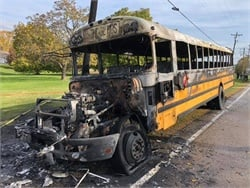 The driver for Madison (Ohio) Local Schools was able to pull the bus over to a safe location and properly evacuate students. Photo courtesy Madison Township Fire Department