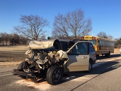 The school bus was carrying 20 students from Union-North United School Corp. when it was struck from behind by an SUV. Four students on board and the motorist suffered minor injuries. Photo courtesy Indiana State Police