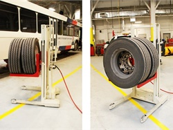 Stertil-Koni's WDA-500 is designed for installing and removing the wheels on raised school buses and other heavy-duty vehicles.