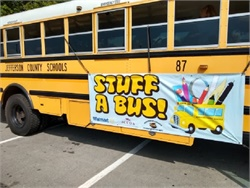"Jefferson County (W. Va.) Schools' transportation department, in collaboration with a local Walmart, held its second annual ""Stuff A Bus"" event on Aug. 3. Photo courtesy Christopher Coffman"
