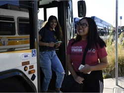 Sacramento Regional Transit's (SacRT's) RydeFreeRT program waives youth fares on bus, light rail, and SmaRT Ride microtransit service across SacRT's service area. Photo courtesy SacRT