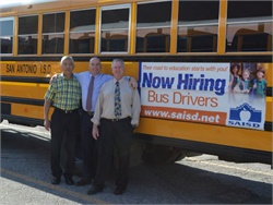 "San Antonio ISD and Humble ISD in Texas are ranked on the ""100 Best Fleets"" list. Seen here are (from left) Miguel Flores, Nathan Graf, and Michael Daly of San Antonio ISD."