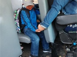 Isabel Lane of Wisconsin held the hand of a frightened student on his first day of school. A photo of the gesture taken by his mother is widely shared on social media. Photo courtesy Amy Johnson
