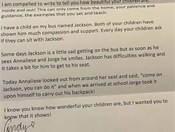 New Jersey driver Cindy Clausen wrote a letter to the parents of two students on her bus who showed kindness and support to a fellow student who has difficulty walking. It has gotten more than 45,000 likes on Facebook.