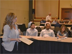 School bus operators can now apply to take part in the 2018 School Bus eXchange. Seen here, Theresa Anderson leads a roundtable discussion at the 2017 event.