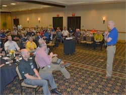 NAPT Executive Director Mike Martin (right) led a discussion of driver shortage at School Bus eXchange.