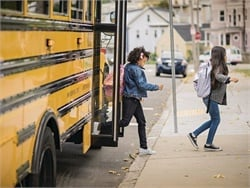 In a message to parents, the American School Bus Council cites the safety record and other benefits of yellow buses. Photo courtesy Propane Education and Research Council