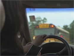 Five free stop-arm PSAs can be downloaded from the School Bus Safety Co. website. A screenshot from one of the videos is seen here.