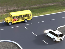 After accidentally passing a stopped school bus illegally, Mark O'Brien came up with a stop-arm design that aims to increase visibility for motorists approaching from the side, as seen in this rendering.