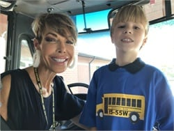 Wyatt, shown here with bus driver Grace Tyler, was honored with a special ride on a school bus. Photo courtesy Baldwin County Public Schools