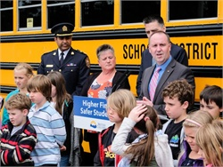 British Columbia officials, pupil transportation professionals, and students gathered for a press conference to announce the increase of fines for illegally passing school buses.