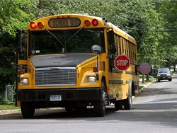 William Naughton, who is married to Rhode Island House Rep. Eileen Naughton, was seen driving past a school bus with its warning lights on and stop arm extended in March. Stock photo by Barry Johnson