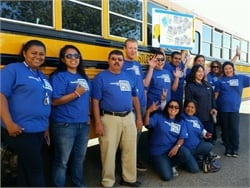 "STI's ""Bully-Free Buses"" campaign was led by Blue Shirt Day. Drivers and other staff members wore blue shirts to show solidarity against bullying. Seen here is the company's team in Santa Maria, California."