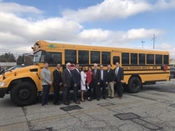 Suffolk Transportation Service and Bay Shore Union Free School District recently rolled out four new all-electric Blue Bird school buses. Photo courtesy Suffolk Transportation Service