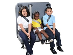 SynTec's S3C Convertible seat can be converted to a lap-shoulder-belt seat (pictured) or an integrated child seat.