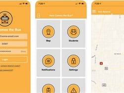 Synovia Solutions, which created the Here Comes the Bus tracking app, shown here, expects its acquisition by CalAmp to accelerate growth.