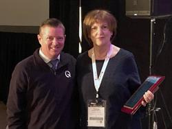 Chris Yarber (left), the national accounts manager for Sure-Lok, presented Therese Pelicano, a transportation manager for Frederick County (Md.) Public Schools, with this year's NAPT, Q'Straint/Sure-Lok Special Needs Transportation award. Photo courtesy Q'Straint