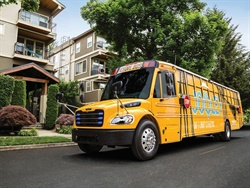 Thomas Built Buses recently received certification and eligibility for grant funding for its Saf-T-Liner C2 Jouley electric school bus (shown here).