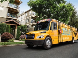 Highland Electric Transportation Inc. selected a Saf-T-Liner C2 Jouley electric school bus, powered by Proterra, to operate in partnership with Beverly (Mass.) Public Schools. File photo courtesy Thomas Built Buses
