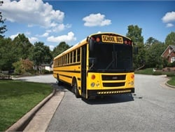Daimler Trucks North America, the parent company of Thomas Built Buses, is recalling some of the manufacturer's school buses due to a potential seating issue. Shown here is a Saf-T-Liner EFX model bus. File photo courtesy Thomas Built Buses