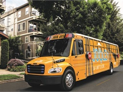 HB 1140 would establish grants to help schools to replace diesel buses with electric buses by 2030. Photo courtesy Thomas Built Buses
